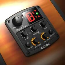 New Cherub Acoustic Guitar Preamp Piezo Pickup 3-Band EQ Reverb / Chorus Effects