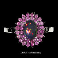 Oval Black Opal Rainbow 7x5mm Ruby Round Diamond Cut 925 Sterling Silver Ring
