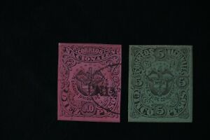 Colombia #78-9  two 1877 F/VF used stamps 2017 cv$33.25 (v060)