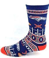 Denver Broncos Football Ugly Christmas Sweater Football Yardline Crew Socks