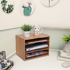 Desk Bamboo File Sorter Office Document Organizer Home Letter Tabletop Rack New
