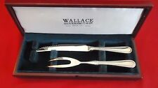 WALLACE SILVERSMITHS STAINLESS ROYAL THREAD CARVING FORK AND KNIFE IN WOOD BOX