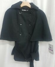 KRUSH Wool Double Breasted Cape Coat with Belt Size XS