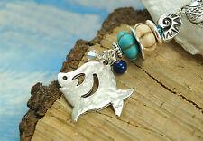 Anhänger Fische & Edelsteine Maritim Lapis Lazuli Perlen Halskette Fisch Kette