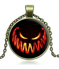 H4 Antique Bronze Halloween Cabochon NECKLACE Chain Pumpkin Jack-o-Lantern NEW