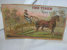 Victorian Trade Card Farming The Tigar King of Rakes J W Stoddard & Co Dayton OH