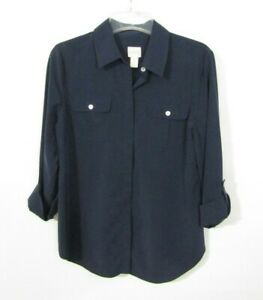 Chicos Blouse Top Size 0 (Small) Blue Roll Tab Long Sleeve Hidden Button front