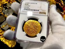 MEXICO 1715 NGC 58 FLEET SHIPWRECK 8 ESCUDOS PIRATE GOLD COINS TREASURE COB