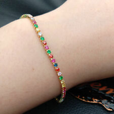 Cubic Zirconia micro pave bracelet 18k yellow gold platedcolorful rainbow