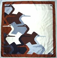 Luxury ROBERTA di CAMERINO Designer BIRDS Geometric Blue Brown Twill Silk SCARF