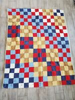 "Vintage Cotton Patchwork Quilt Worn Red White Blue Tan 62"" x 77"""