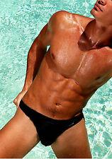 hot summer beach super sexy mens black swimwear erotic swim slips bikini brief M