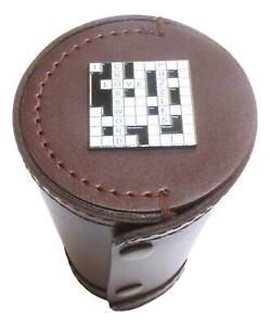 Cross Word 1-10 Numbered Cups in Brown Leather Popper Case 549