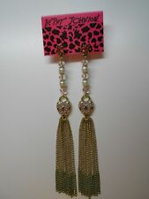 Betsey Johnson Iconic Fabulous Fuchsia Pink Crystal Heart Multi Chain Earrings