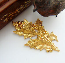 BRASS Holly Leaves and Berries Spray Stampings - Findings (FB-6104)