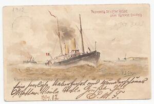 Belgium Old Postal Stationery Postcard Ship Princesse Clementine Paquebots 1902