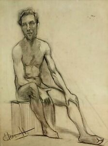 ACADEMY. MALE NUDE. SIGNED CASTELLS (?). CHARCOAL ON PAPER. SPAIN. XXTH