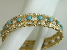 Doris Pano Cabochon Turquoise Opaque Resin Stones And Crystals Hinged  Bangle Br