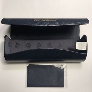 Brooks Brothers Navy Eyeglass Hard Case New With Cleaning Cloth