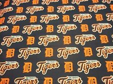 "DETROIT TIGERS  MLB FABRIC100% COTTON BRAND NEW DESIGN I/2 YD PIECE ""GO TIGERS"""
