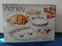 Vintage Ashley Collection By Cardinal Hand-painted Pottery Snack Set NEW IN BOX