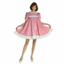 Sissy Girl Maid PVC Pink A-Line Dress Crossdress Unifrom Cosplay Costume//
