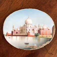 An Antique Indian Grand Tour Miniature Painting, Taj Mahal, c.1870. 6.4cm Wide.
