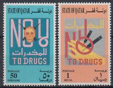 Qatar 1996 ** Mi.1074/75 Drogen Totenkopf Spritzen Drugs Syringes Skull