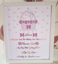 Personalised Framed Bridesmaid/Flower Girl Basket Thank You Gift/Wedding Favour