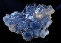 New Find Transparent Blue Cube Fluorite Crystal Cluster Mineral Specimen 9.7LB
