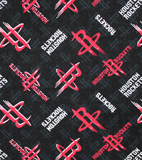 NBA HOUSTON ROCKETS ALLOVER PRINT #1 100% COTTON FABRIC BY THE 1/2 YARD