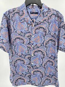 Cremieux Men's Dress Shirt Size Large Blue Paisley Button Up Top SS