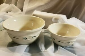 """Longaberger Pottery Woven Traditions Green Mixing Nesting Bowl  8"""" & 6.5"""" lot x2"""