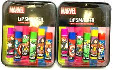 (2) Marvel Lip Smacker Collectible Metal Tin Avengers Black Widow Hulk Spiderman