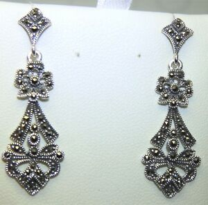 SILVER MARCASITE DROP EARRINGS ROUND VICTORIAN STYLE 925 STERLING SILVER