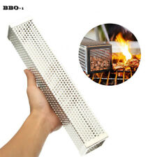 12'' BBQ Grill Smoking Mesh Tube Stainless Steel Cube  Wood Kitchen Outdoors