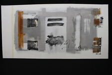 Original SILVIA STEIN Abstract Gray/White/ Black/Rust Oil Painting on Canvas