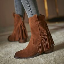 Fashion Women's Round Toe Ankle Boots Suede Winter Fashion Shoes Size