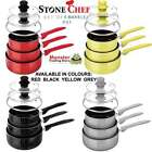STONECHEF MARBLE STONE CERAMIC COATED COOKWARE 6PCS SET OF POTS NON-STICK