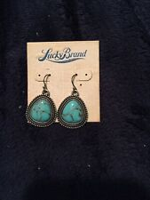 *NEW* LUCKY BRAND SILVER TONE TURQUOISE DANGLE EARRINGS