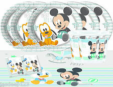Baby Mickey Mouse Party Tableware Pack for 16 Kids Birthday Decorations Blue 1st