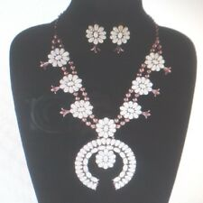 enhanced white stones copper squash blossom necklace & earrings NEW Style