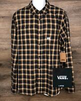 NWT VANS Off The Wall Mens Brown Blue Plaid Long Sleeve Button Front Shirt NEW L
