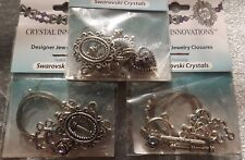 JEWELRY CLOSURES TOGGLES SILVER FEATURING SWAROVSKI CRYSTALS (3 SETS)ROUND