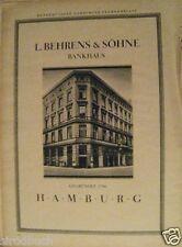 Originalwerberung Reklame XXL 1928 L. Behrens & Söhne Hamburg ..Warburg & Co