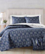 Martha Stewart 4 Pc Full/Queen Quilt, Tote, & Bag Set Diamond Geo Blue A01125