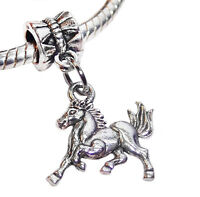 Galloping Horse Pony Animal Equestrian Dangle Charm for European Bead Bracelets