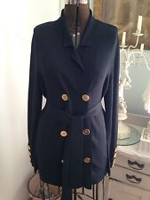 Doncaster Collection Deep Navy Long Classic Double Breasted Lg Cardigan NWT!!