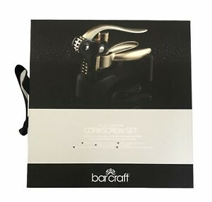 Bar Craft Deluxe Lever Arm Corkscrew Set Wine Gift Stand & Cutter NEW & BOXED