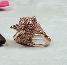 Kate Spade rose gold tone cute crystal imagination pave pig ring Size 7